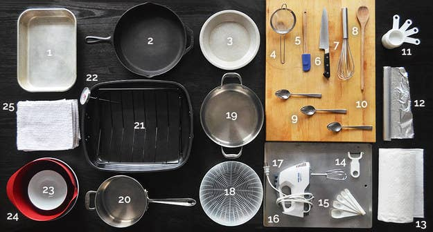 A big enough roasting pan? A rack for that pan? Food processor? Vegetable peeler?