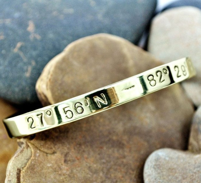 Great for travel lovers, having the birthplace of their baby-to-be hammered into a cuff is a great way to remind new parents that the greatest journey is still ahead.