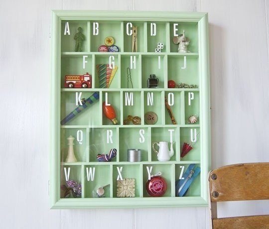 Put together an alphabet shadow box with some of Mom and Dad's favorite things.