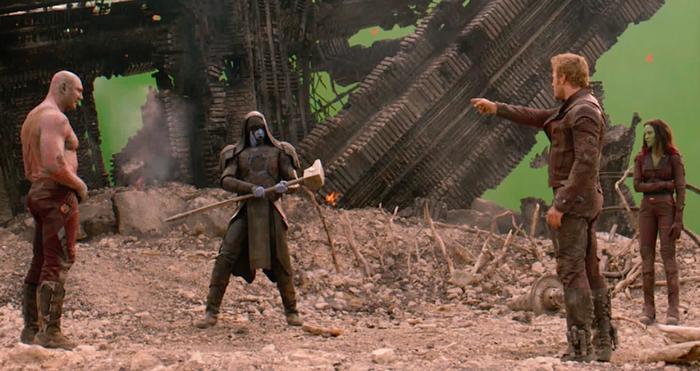 Dave Bautista, Lee Pace, Chris Pratt, and Zoe Saldana on the set of Guardians of the Galaxy.