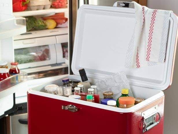 There is no room for that opened jar of artisanal jam or pickles in your fridge when Thanksgiving rolls around. Before you go grocery shopping, FoodNetwork.com recommends that you take all the nonessentials out of your fridge and store them in a cooler in the garage filled with ice packs.