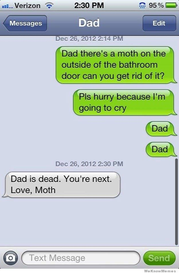 The 32 funniest text messages of all time 2 when dad met his end at the hands of moth m4hsunfo