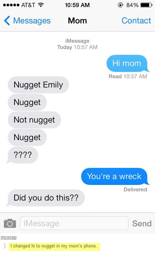 "The time Emily switched ""hi"" to ""nugget."" Not nugget. Nugget:"