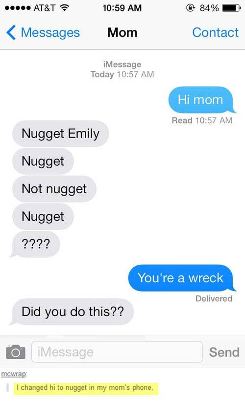 The 32 funniest text messages of all time 1 the time emily switched hi to nugget not nugget nugget m4hsunfo