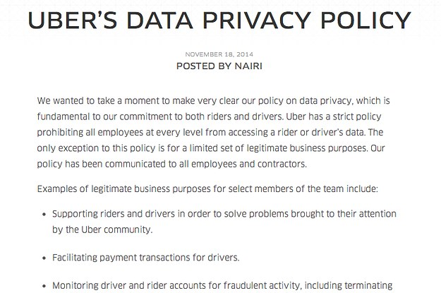 Amid User Concerns Uber Rolls Out Its Privacy Policy