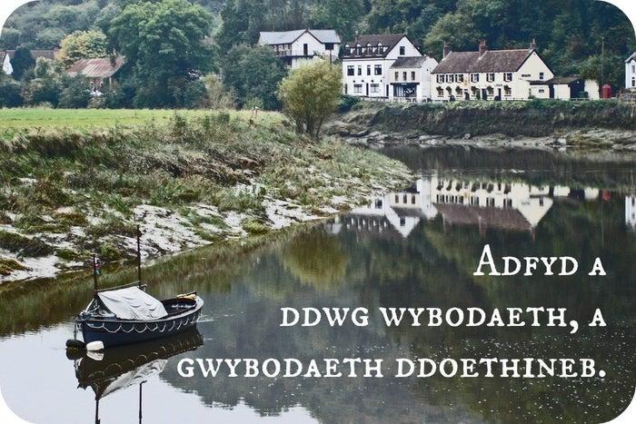 """Welsh: """"Adfyd a ddwg wybodaeth, a gwybodaeth ddoethineb.""""Approximate pronunciation: advid a thoog wee-boh-dyth, a gwee-boh-dyth thoy-thin-ebTranslation: """"Adversity brings knowledge, and knowledge wisdom."""""""