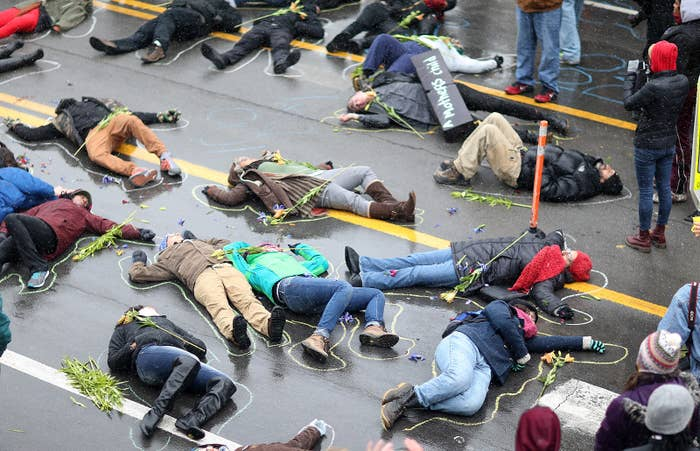 Demonstrators lay on the ground on Nov. 16, in St. Louis, Missouri, in a mock death protest of the shooting death of Michael Brown by a Ferguson police officer.