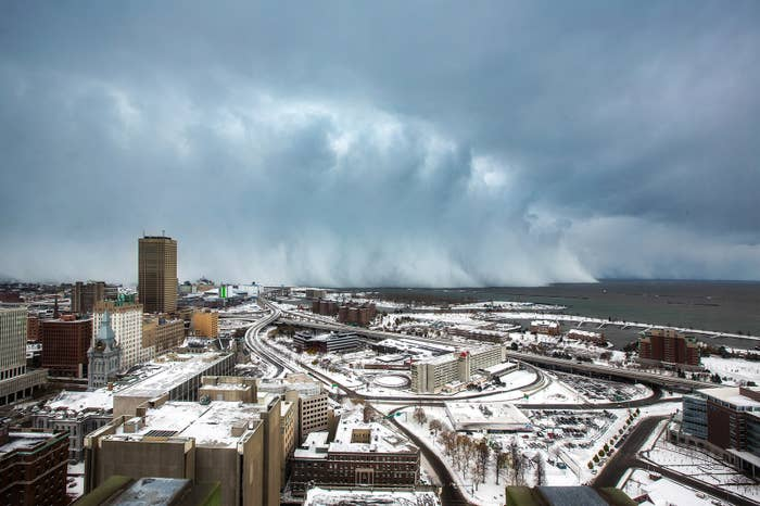 Storm clouds and snow blow off Lake Erie in Buffalo, New York, Nov. 18. An autumn blizzard dumped a year's worth of snow in three days on Western New York, where five people died, and some residents were stranded overnight in cars.