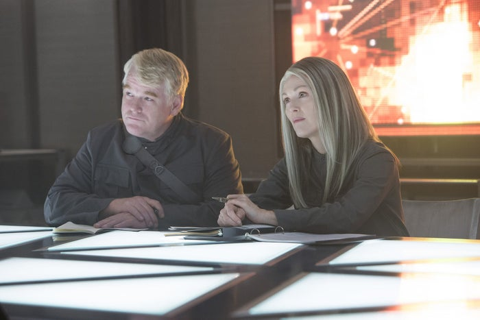 Philip Seymour Hoffman and Julianne Moore in The Hunger Games: Mockingjay – Part 1.