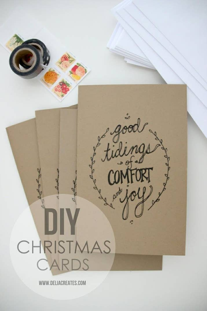 23 diy christmas cards you can make in under an hour these pretty printable cards solutioingenieria Images
