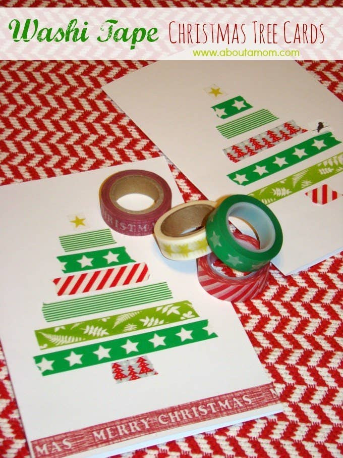 23 diy christmas cards you can make in under an hour these adorable washi tape tree cards solutioingenieria Images