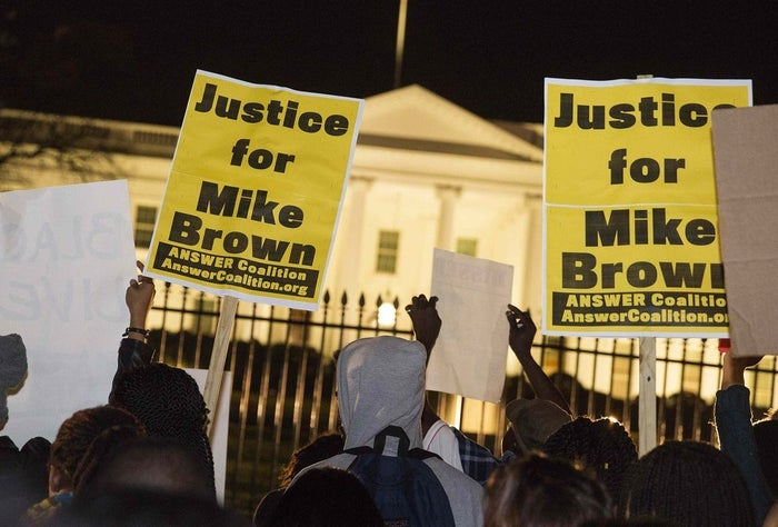 Protesters outside the White House on Monday night.
