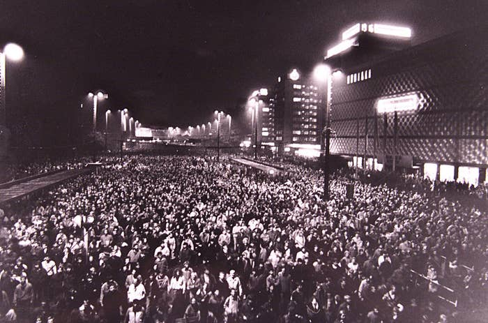 Months of protests against Communist rule — including this one, where 70,000 people walked through the city center of the town of Leipzig in Oct. 1989 — eventually led to the head of the East German Communist Party announcing that beginning at midnight, on Nov. 9, civilians would be able to cross the border.
