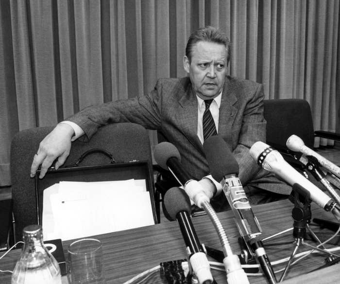 """After some behind-the-scenes politicking, Guenter Schabowski, spokesman for the East Germany Politburo, announced the decision when he improvised comments during a press conference, sayng that the changes in travel regulations were """"effective immediately."""" That set off a rush of East Germans towards the border."""