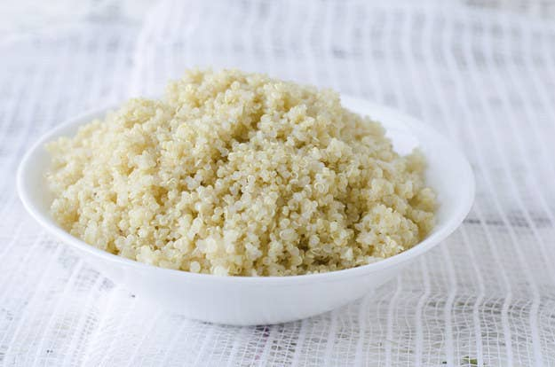 You don't have to be a health nut to love quinoa. This little seed has tons of protein and the flavor is subtle enough that it can work in almost any dish. Make sure to rinse quinoa before you cook it to wash away any bitterness. After that, put it in a saucepan, add twice as much water or broth as you have quinoa, and bring to a boil over medium-high heat. Reduce the flame to medium-low, cover, and simmer for about 15-20 minutes, or until the water is absorbed. Remove from heat and give it 5 minutes to sit, covered, before you open it and give it a nice fluff. It'll last about a week in the fridge and can be added to basically anything.