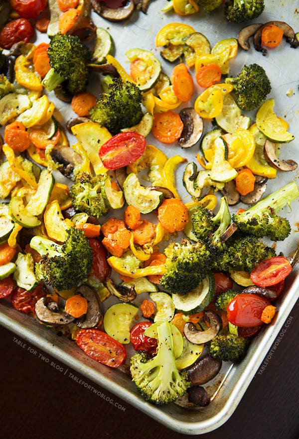 Roasting vegetables is one of the easiest, most reliable ways to cook them. Turn your oven up to 450°F. Chop your vegetables, with the harder ones, like carrots and potatoes, cut up into smaller pieces than soft vegetables like broccoli and squash. Toss them all with some olive oil and kosher salt. Spread on a baking sheet or two – don't crowd! – and roast for about 30-40 minutes, or until they look and taste good. Here's a basic recipe to get you started. Once you've got roasted veggies, you can toss them in some pasta, a salad, put them on a sandwich, or obvs, eat them plain.