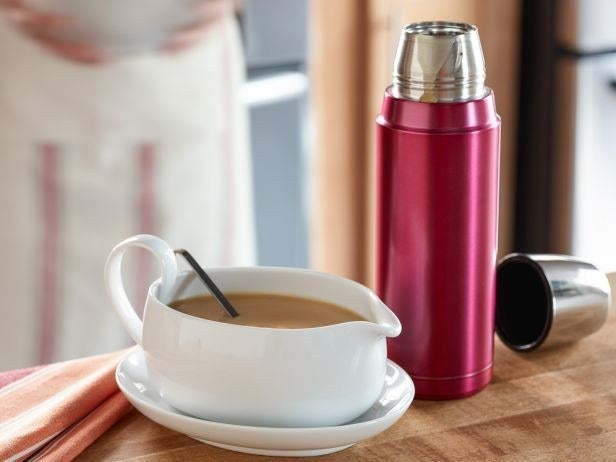 Another great tip from foodnetwork.com: Once you've finished making your gravy, just pour it into a thermos or two (this one made by Zojirushi keeps things so hot for so long it's actually kind of scary) and pour it into a gravy boat once the rest of the meal is on the table.