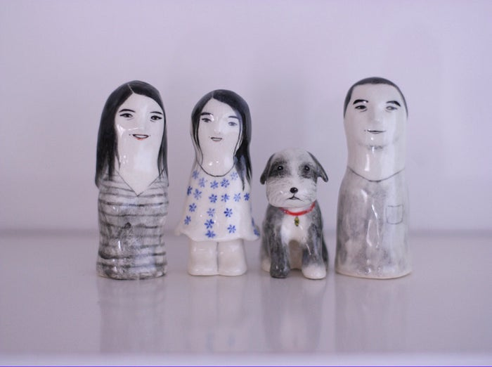 Porcelain figures painted to resemble your family.
