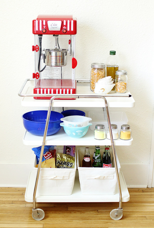Make one into a movie night popcorn station.