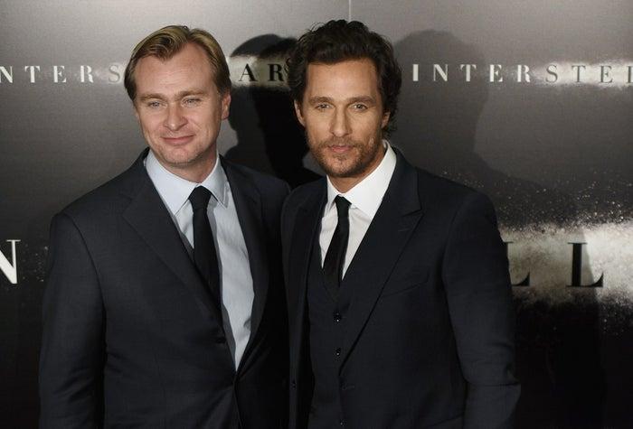 Director Christopher Nolan and Matthew McConaughey at the Paris premiere of Interstellar on Oct. 31, 2014.
