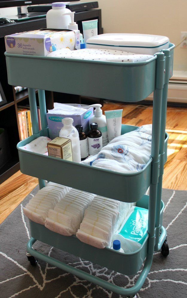 Fill one with baby supplies for handy access in the nursery.