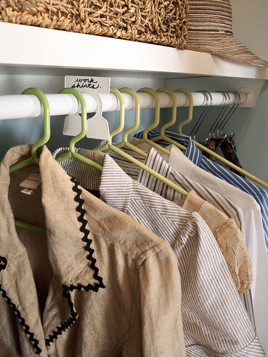 Use garment organizers to separate your clothes into categories that work for you - seasons, occasions, type of item, etc.