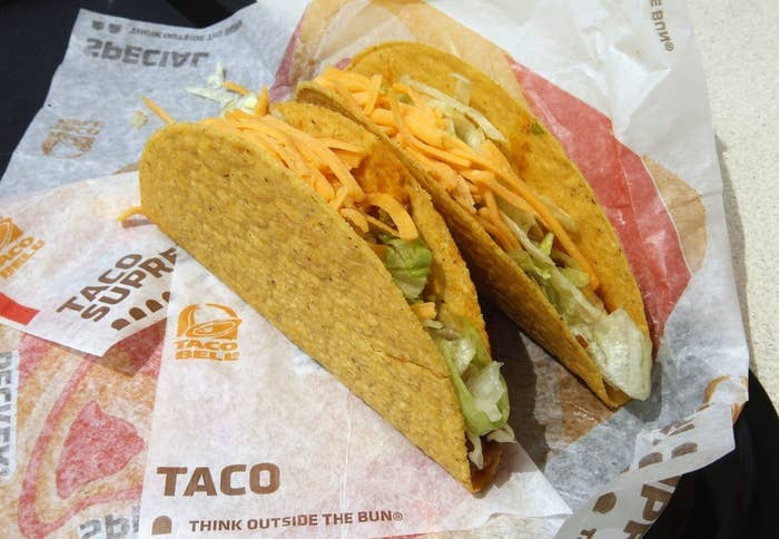 Two Taco Bell tacos, at a restaurant in Glendale, California