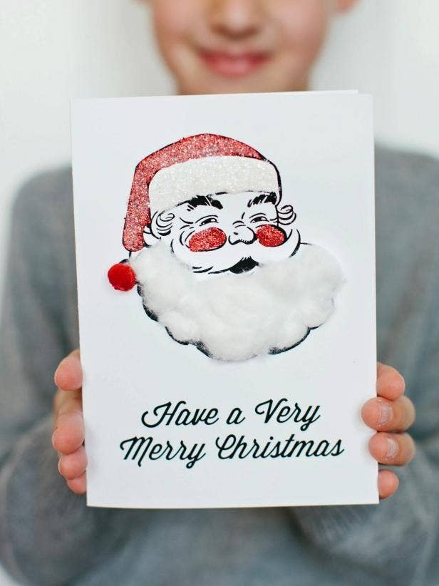 23 diy christmas cards you can make in under an hour these kid friendly santa cards get the printable template solutioingenieria Images