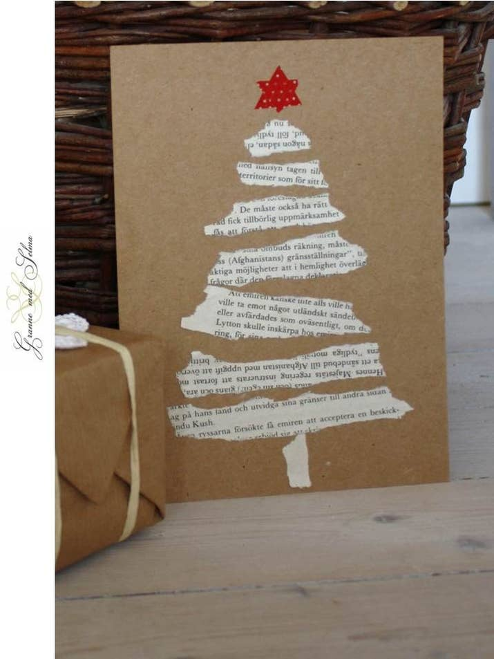 23 diy christmas cards you can make in under an hour these torn paper tree cards solutioingenieria Image collections