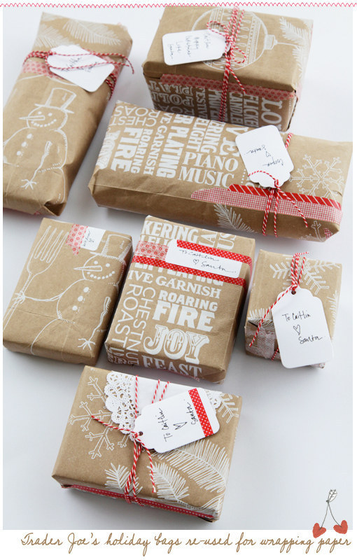 Don't throw away those shopping bags, they are good as wrapping paper.
