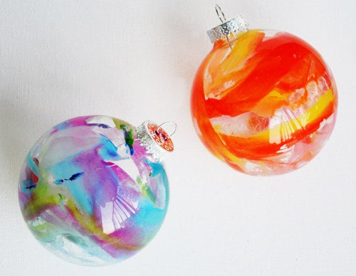 Just a few crayon shavings and a hair dryer and you've got some gallery-worthy tree baubles.