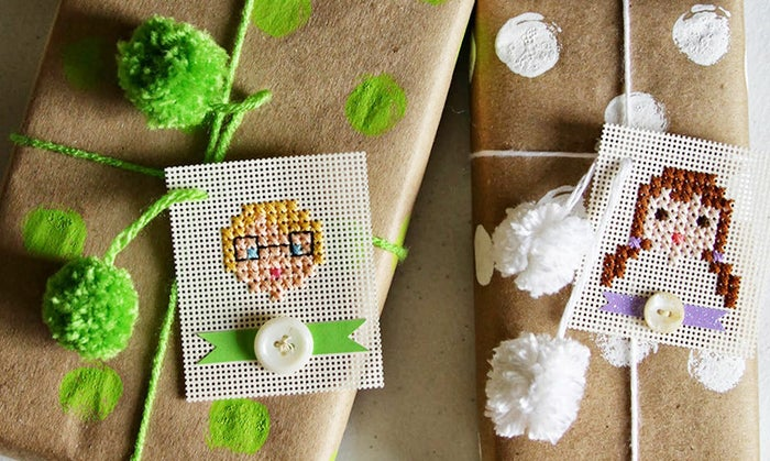 Simple cross-stitched tags are an adorable way to decipher gift recipients. Unless you have too many people in your family who look alike...