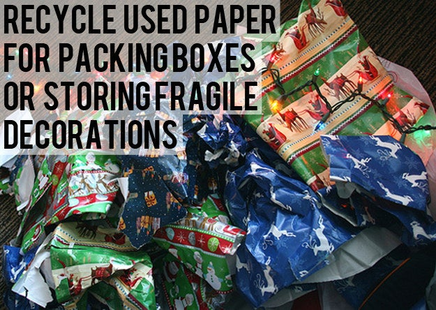 "Pack away your Christmas decorations with padding, or decorate a gift basket or box for a gift. Nothing says ""I care"" more than a box full of crumpled wrapping paper."