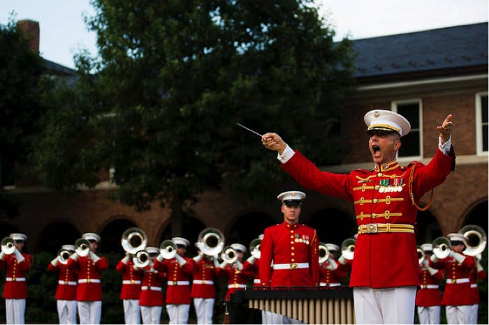 Musicians in the Marine Corps field bands perform around the world, playing the full spectrum of ensembles, including ceremonial band, jazz big band, pop rock band, and brass and woodwind chamber. Sound good?