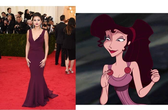 Megara and Selena are both sassy, independent women who fall in love with men that everyone is obsessed with. Plus, purple is a power color for them both.