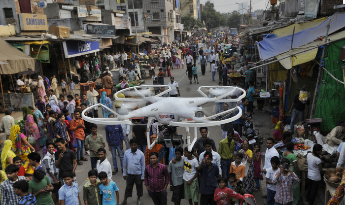 Delhi Police deployed camera-equipped drones for surveillance in riot-affected areas of Trilokpuri on Oct. 28.