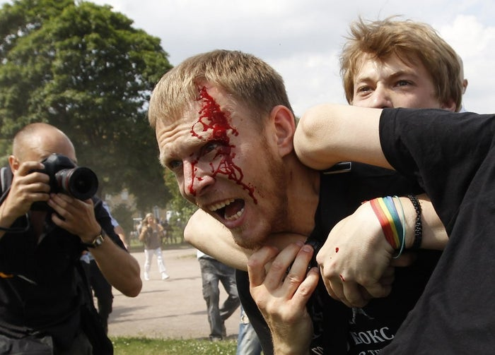 "Human Rights Watch documented such 18 attacks from 2012–2014. Activists said virtually every demonstration in support of LGBT rights in 2013, the year the ""propaganda"" law passed, was attacked."