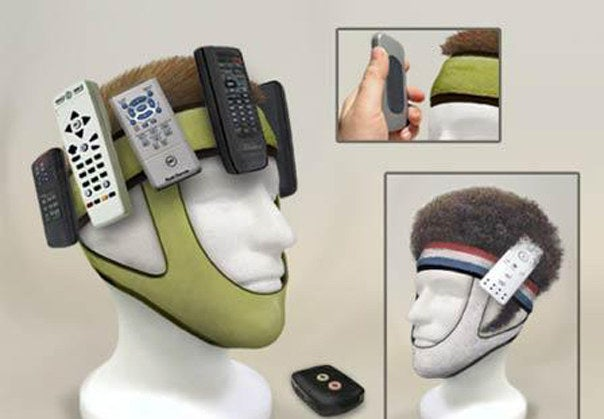 In a world of Wii remotes, television, PlayStation, set-top box and amplifier remotes, what's the only possible solution you can think of? Headbands aren't enough - what about head straps? All it takes is a stick of painfully sharp Velcro on each remote, and soon you too will be walking around like a human idiot.