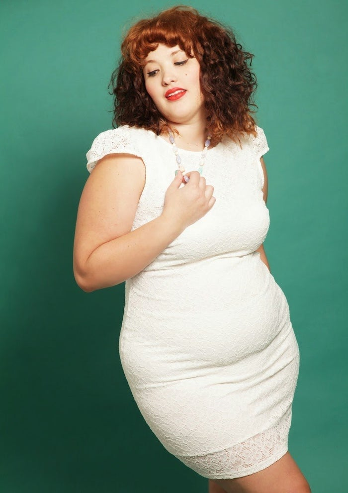 """""""I know a lot of plus-size women who follow one styling rule: HIDE THE BELLY,"""" says Ospina. """"But a lot of times, this results in wearing horrifically unflattering and baggy, fit-for-high-school-PE apparel. It's not exactly a recipe for feeling good about yourself."""" And shapewear can over-promise and under-deliver. """"Oftentimes, shapewear and supposedly high-waisted jeans won't actually make you look like an hourglass bombshell. They'll create lumps where there aren't any. So rather than focusing on hiding your tummy, find clothes that make you happy!"""""""