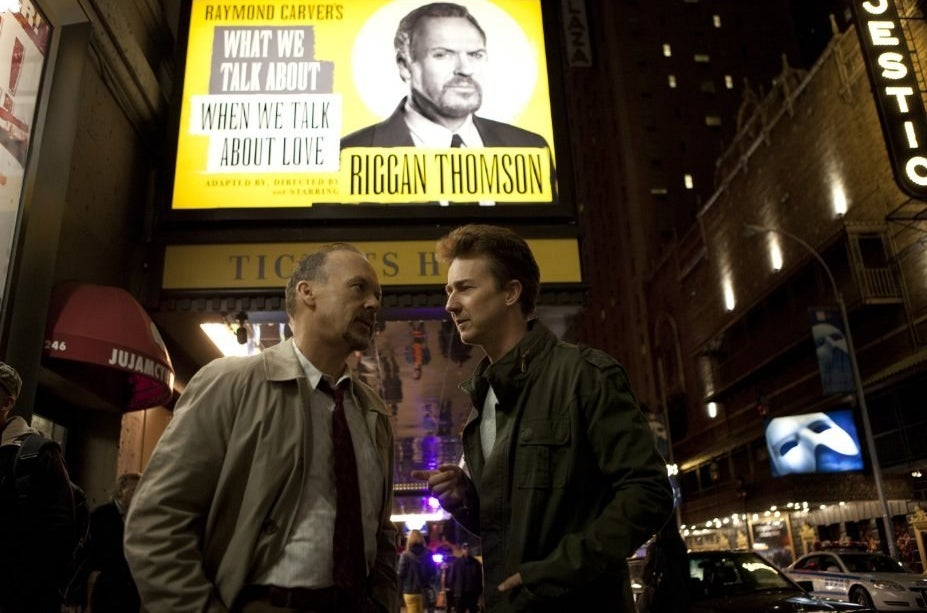 Riggan and his co-star Mike Shiner ( Edward Norton) in Birdman