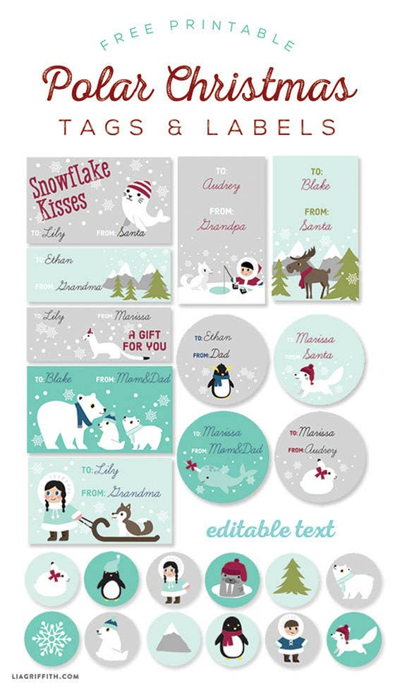 24 adorable free gift tags you can print right now its a whole gang of cute animal tags negle Gallery