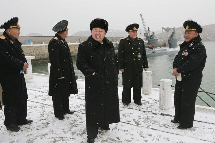 North Korean leader Kim Jong Un (center) in December.
