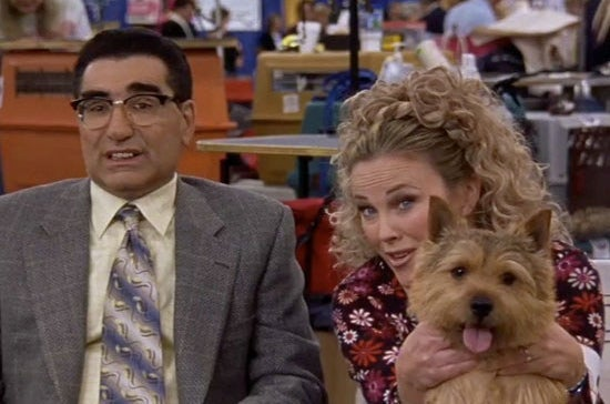 Levy and O'Hara in Best in Show and A Mighty Wind