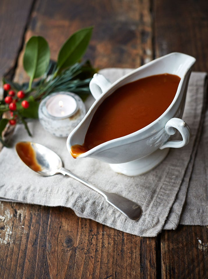 """Get the gravy right and everything else will follow. Jamie says: """"This super-simple vegan gravy ticks all the boxes on the flavour front and will really bring your roasts to life. Get the veg base to a good, deep-golden colour before adding the rest of the ingredients to make it beautifully rich and intense.""""Get the recipe here."""