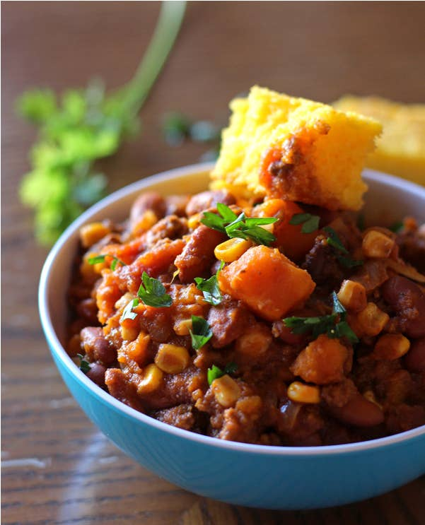 If you ask me, ALL bowls of chili should be topped with a shining beacon of cornbread. Get the recipe.