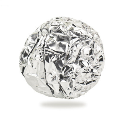 A ball of aluminum foil.