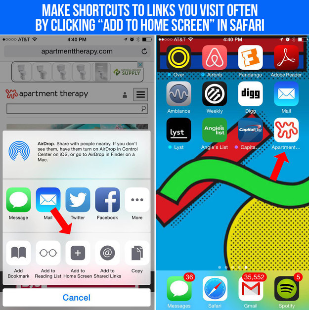 "Create ""shortcuts"" that look like apps for websites you visit often."