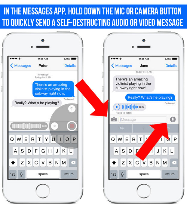 You can now take and send audio and video that self-destruct in two minutes via iMessage by holding down the camera or microphone icons.