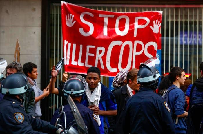 Demonstrators in New York city, on Dec. 1.