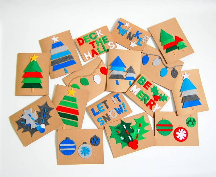 23 diy christmas cards you can make in under an hour these colorful felt cards solutioingenieria Image collections